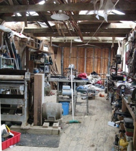 Inside Larry Pardey's boat shed.