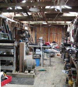 Inside Larry Pardey's boat shed.