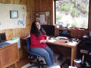 Lin Pardey in her office