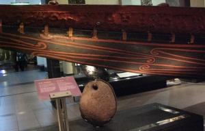 Maori canoe carvings and anchor